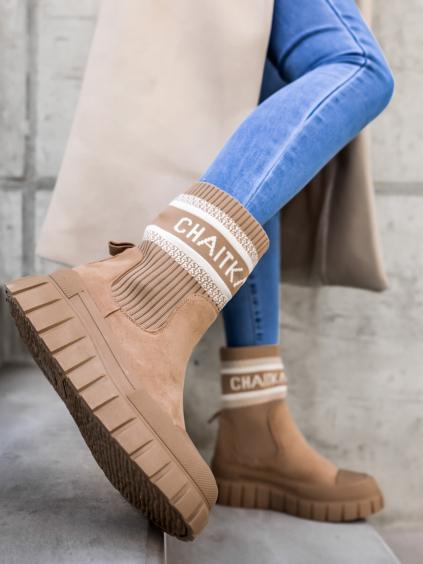 Hnedé semišové členkové topánky JOEY s gumovou špičkou (Veľkosť 41)