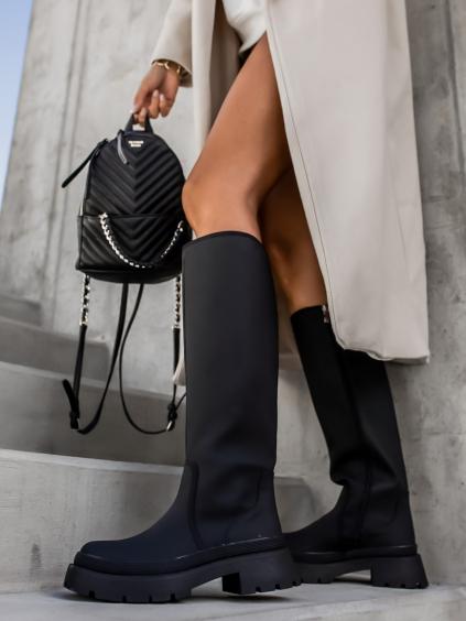 Čierne módne kozačky ROUGE (Veľkosť 41)