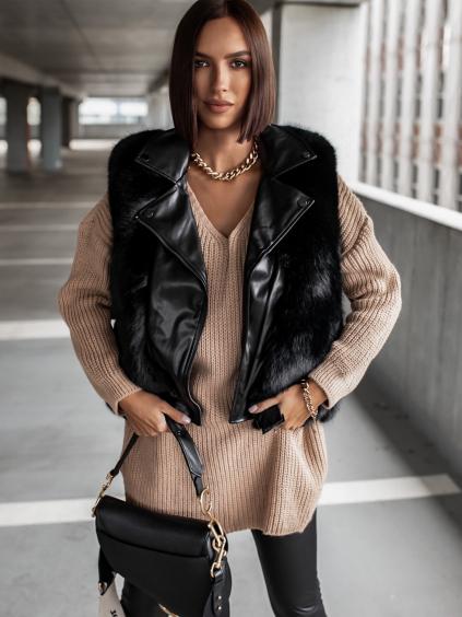 Čierna koženková vesta ZIGGY s umelou kožušinou (Veľkosť S)