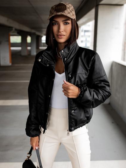 Čierna koženková bunda VOICE so zipsom a cvokmi (Veľkosť S)