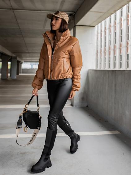 Hnedá koženková bunda VOICE so zipsom a cvokmi (Veľkosť S)