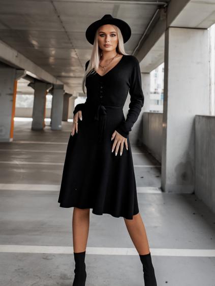 Čierne svetrové rebrované šaty FEELING s viazaním (Veľkosť S/M)