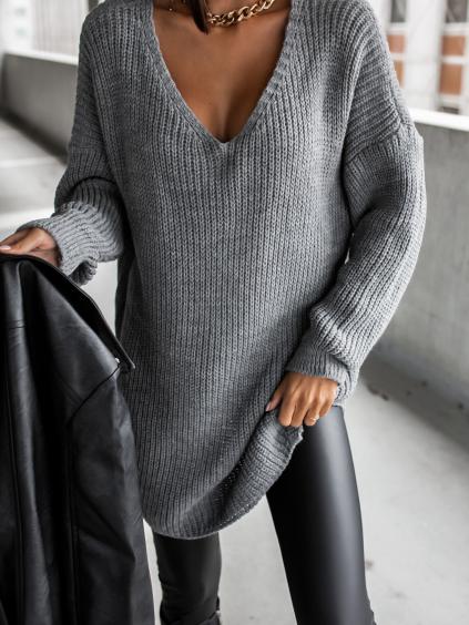 38397 tmave sedy pleteny svetr certain s vystrihem
