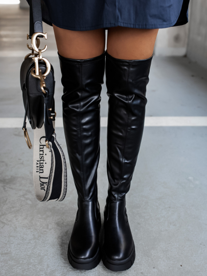 Čierne vysoké čižmy MARIA nad kolená (Veľkosť 41)