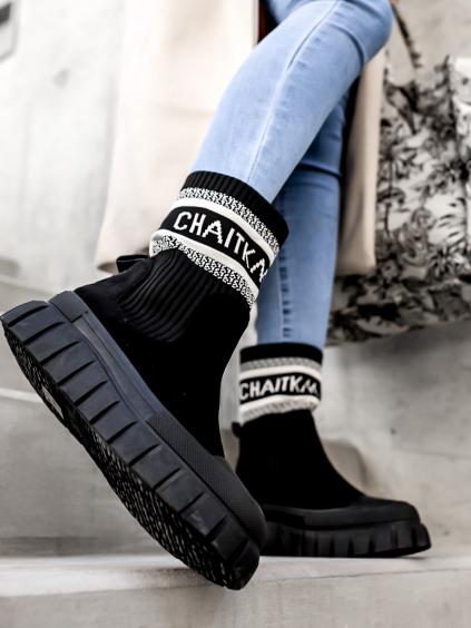 Čierne semišové členkové topánky JOEY s gumovou špičkou (Veľkosť 41)