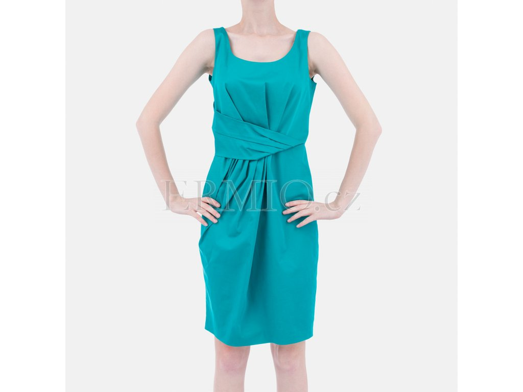 Krátké plesové šaty Moschino tyrkysové