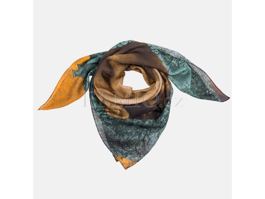 Půvabný dámský šátek Vivienne Westwood hnědozelený