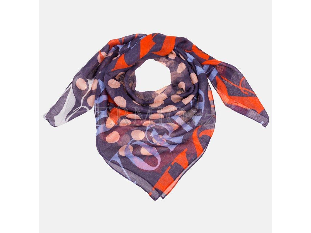 Nádherný dámský šátek Vivienne Westwood fialově červený