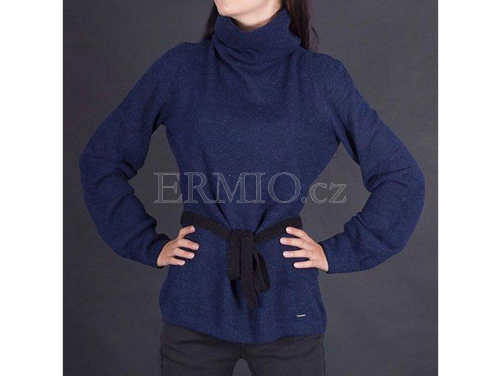 Vlněny svetr Armani modrý