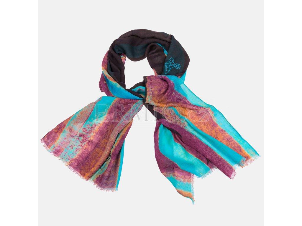 4b90c8a16e3 Luxusní Elegantní dámská šála Vivienne Westwood barevná v e-shopu ...