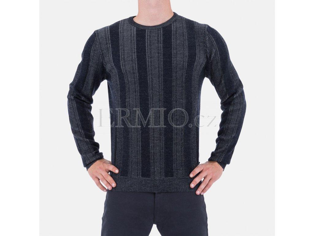 Luxusní šedomodrý pánský svetr Armani