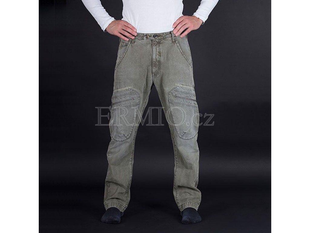 Casualové olivové pánské kalhoty Armani jeans