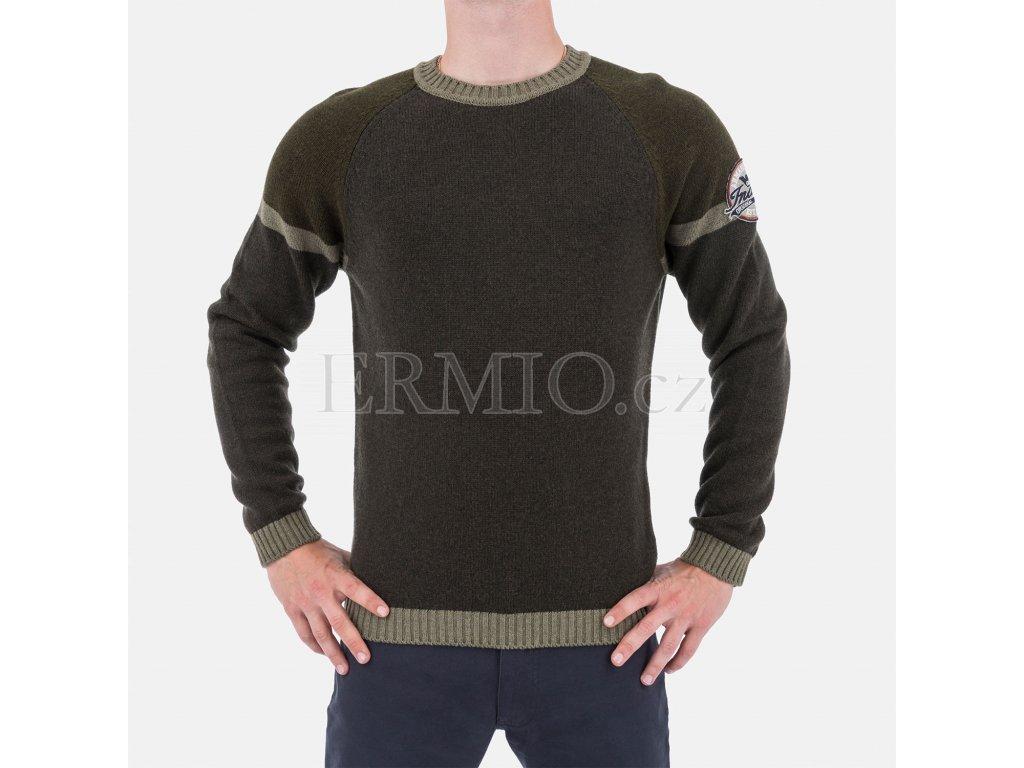 Značkový pánský zelený svetr Armani