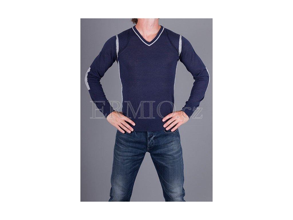 Značkový pánský modrý svetr Armani