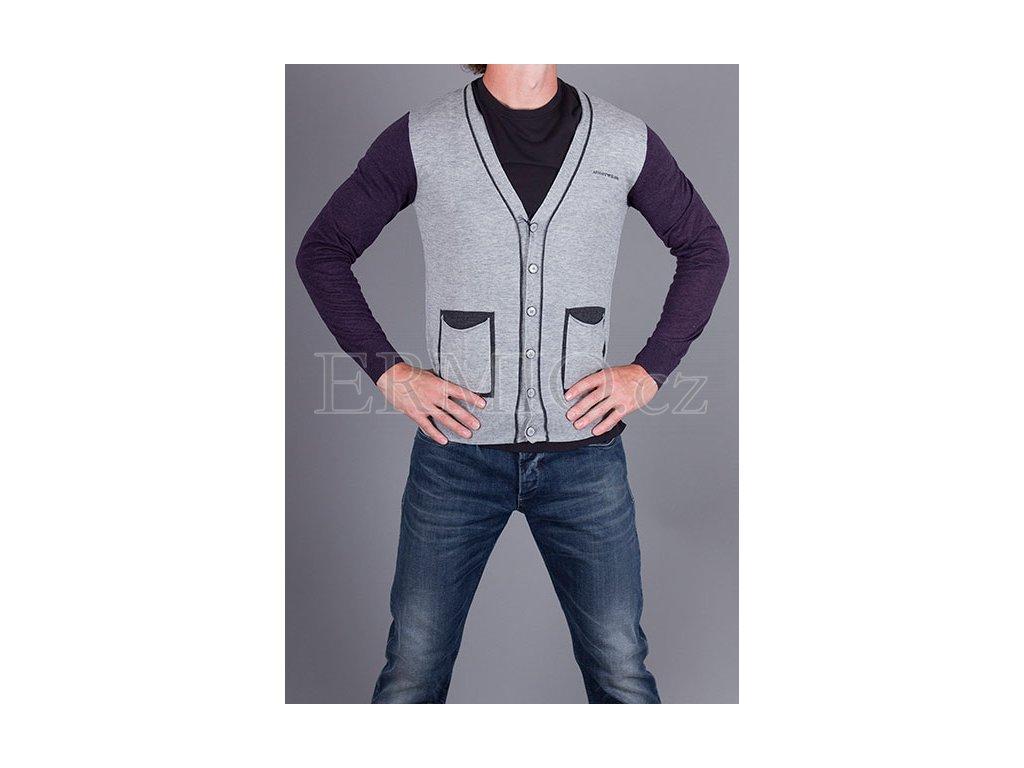 Pánský šedý značkový svetr Armani