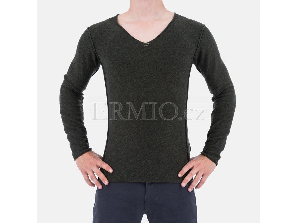 Značkový pánský tmavě zelený svetr Armani