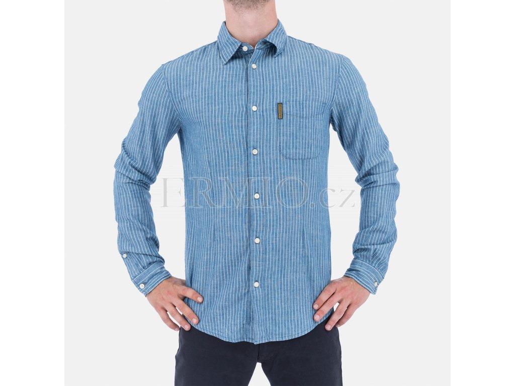 4695e5fdd96 Luxusní Pánská modrá proužkovaná košile Armani v e-shopu   Ermio Fashion