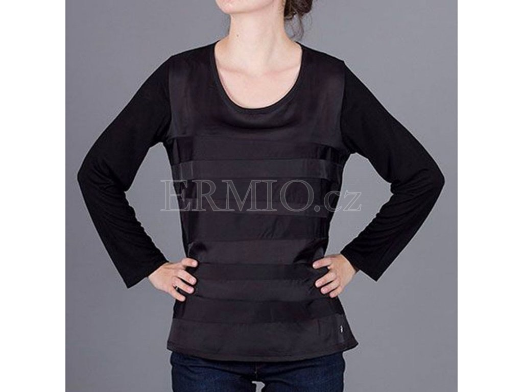 Luxusní černé tričko s dlouhým rukávem Armani