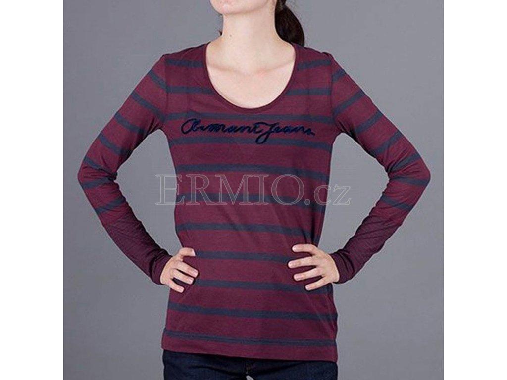 Proužkované tričko s dlouhým rukávem Armani