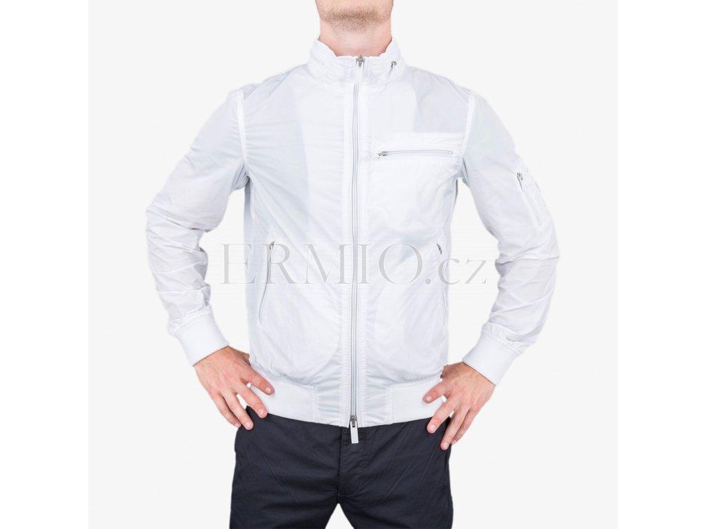 Trendová pánská jarní bunda Armani Jeans bílá