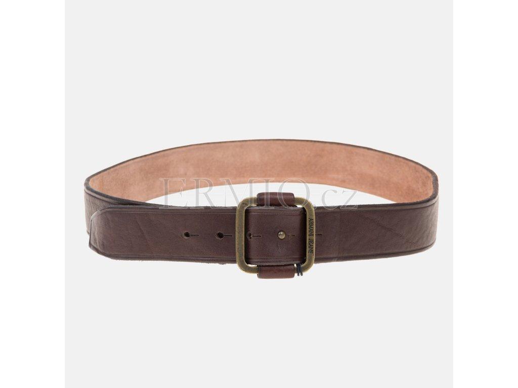 Pánský hnědý kožený pásek Armani