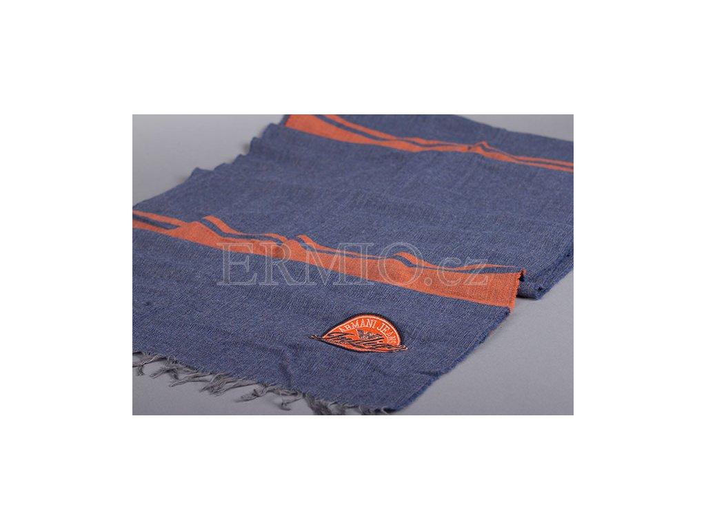 Modrá šála s oranžovymi proužky Armani