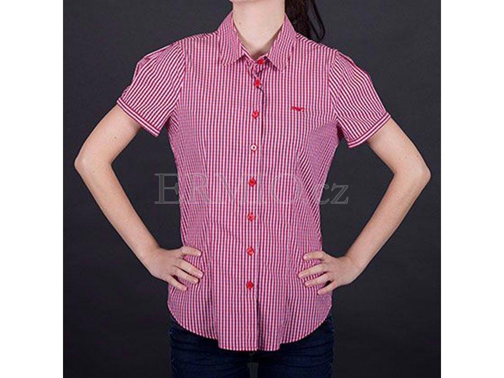 Kostkovaná košile Armani růžová