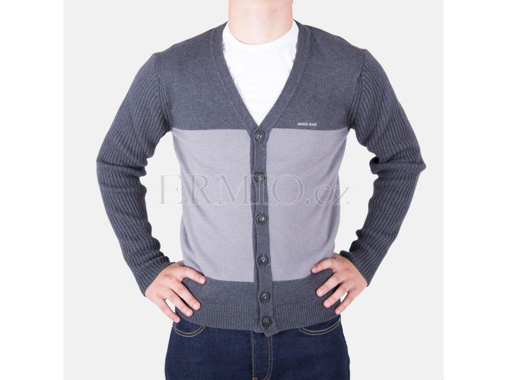 Luxusní pánský šedý svetr Armani Jeans f53e7dd60d