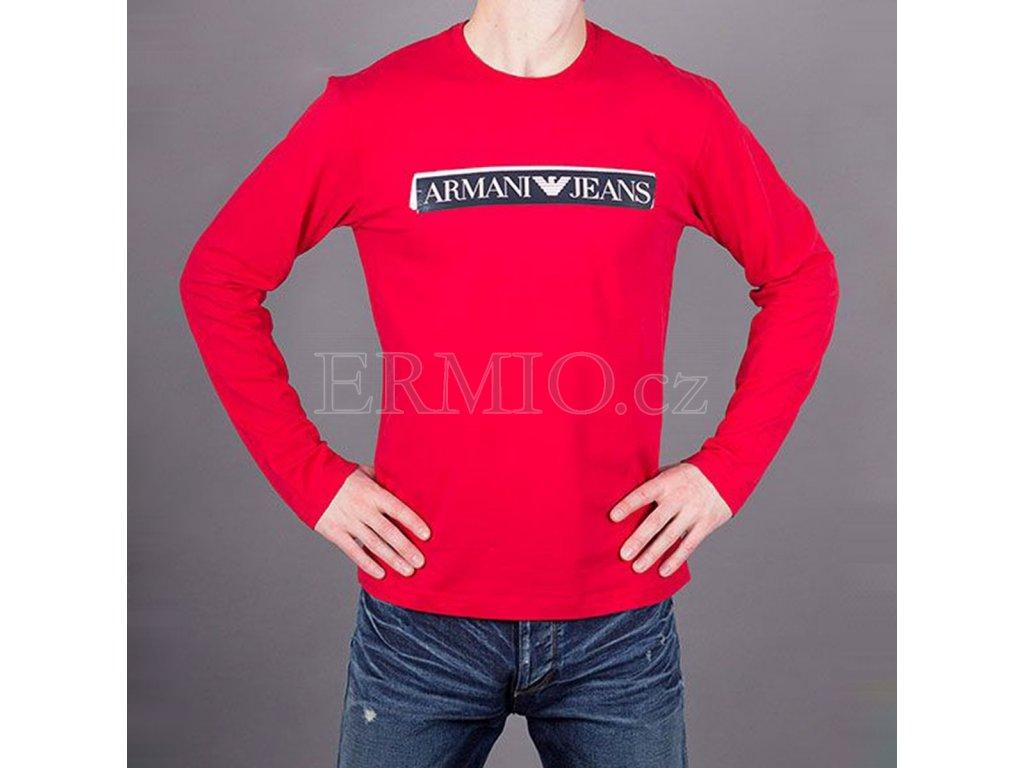 Luxusní Tričko červené Armani Jeans pánské v e-shopu   Ermio Fashion 6eebe77b5f