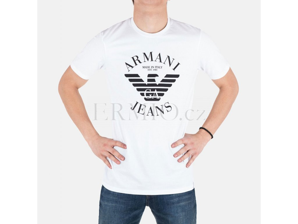 Luxusní Pánské bílé tričko Armani Jeans v e-shopu   Ermio Fashion 692332ff27