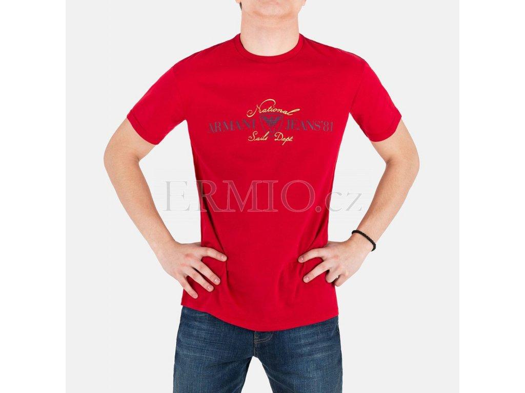Luxusní Pánské červené tričko Armani Jeans v e-shopu   Ermio Fashion 736e07be81