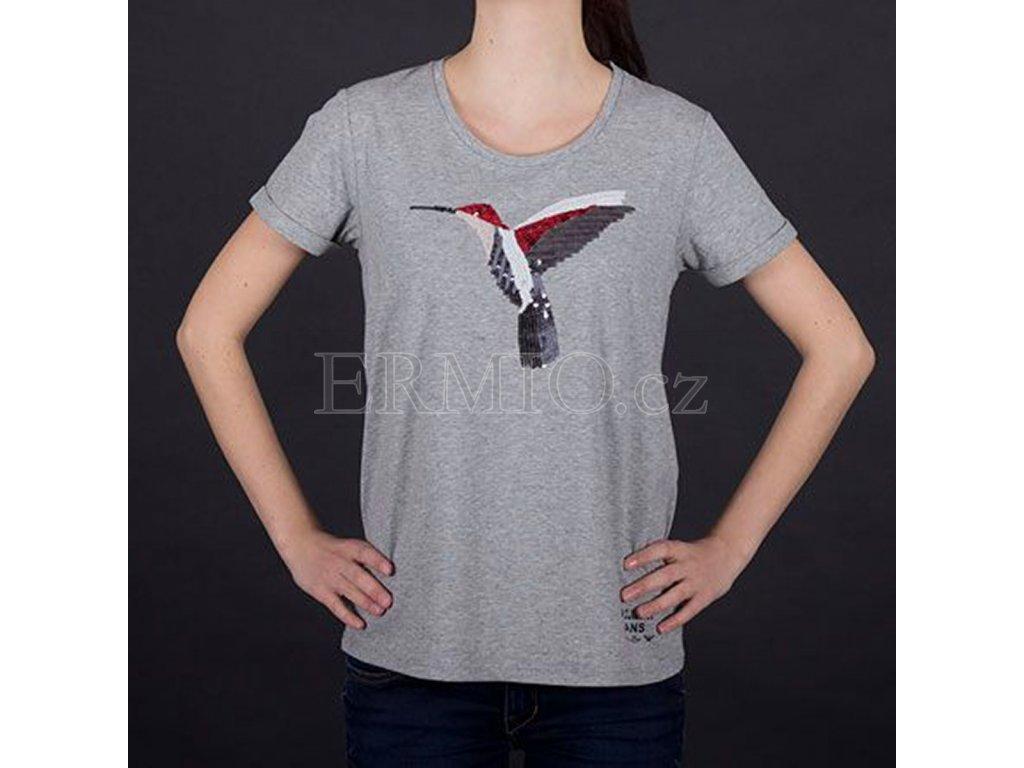 Tričko s flitry Armani šedé