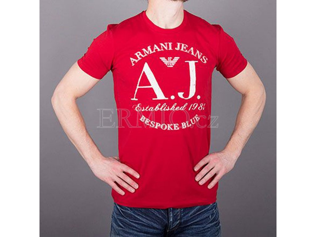 6d414581e17a Luxusní Značkové pánské tričko AJ červené v e-shopu   Ermio Fashion