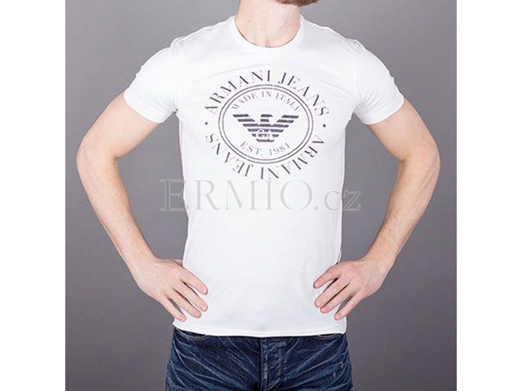 f176bc64cdd9 Luxusní Značkové pánské tričko Armani kulaté logo v e-shopu   Ermio ...