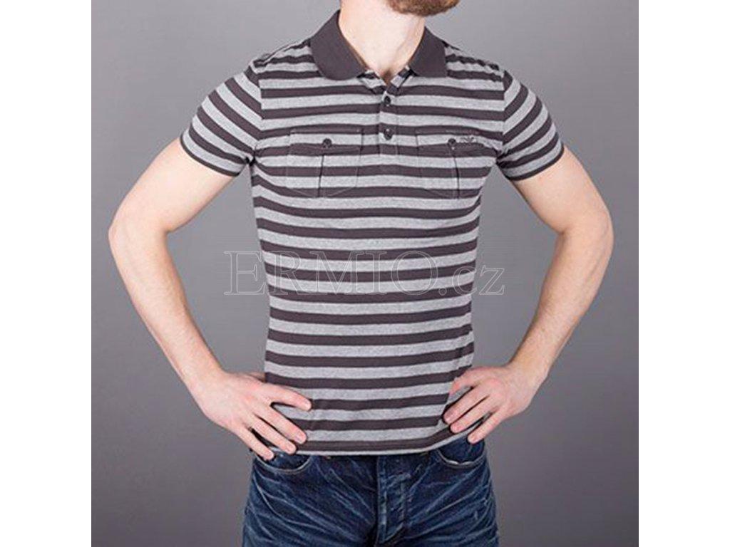 d87389af2 Luxusní Značkové tričko polo pánské AJ šedé v e-shopu * Ermio Fashion