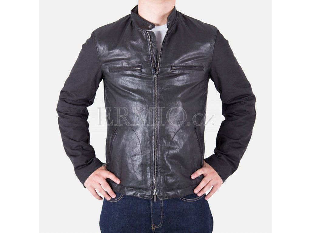 Bunda AJ kůže/textil černá