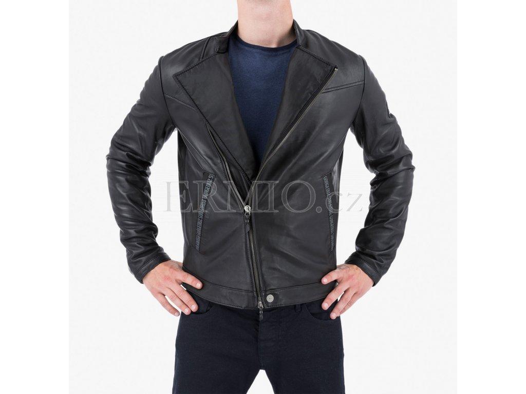Luxusní Černá kožená bunda Armani Jeans v e-shopu   Ermio Fashion bb9bd8a0d6