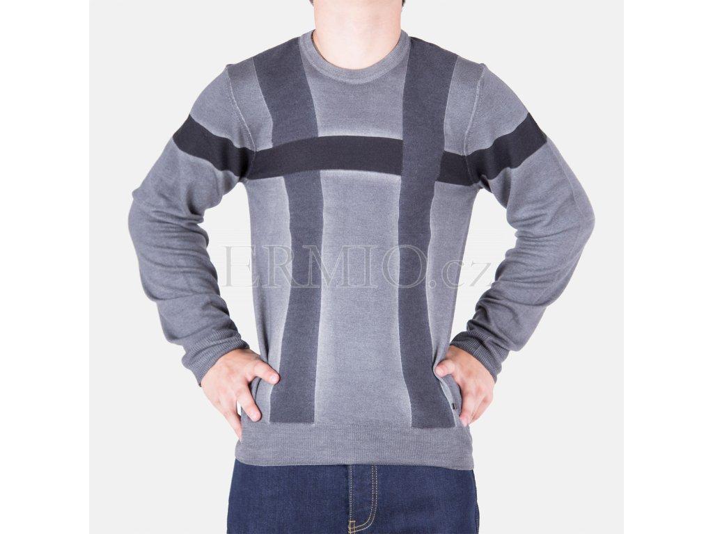 Luxusní pánský šedý svetr Armani Collezioni
