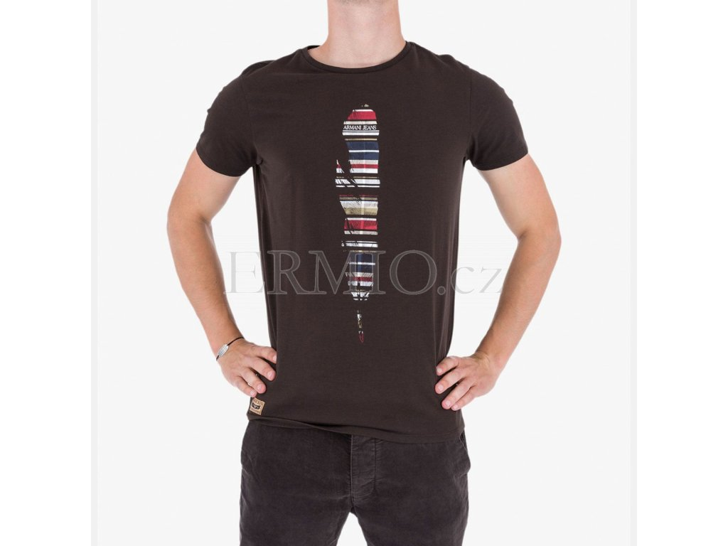 Hnědé tričko Armani Jeans