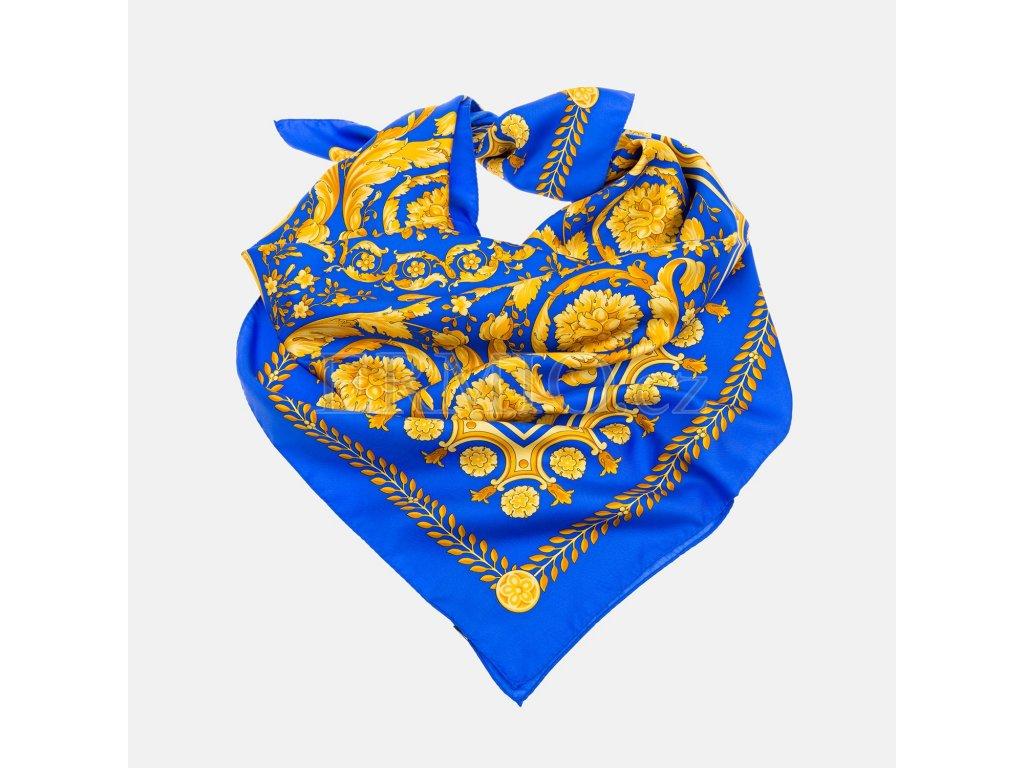 Modrý hedvábný šátek Versace