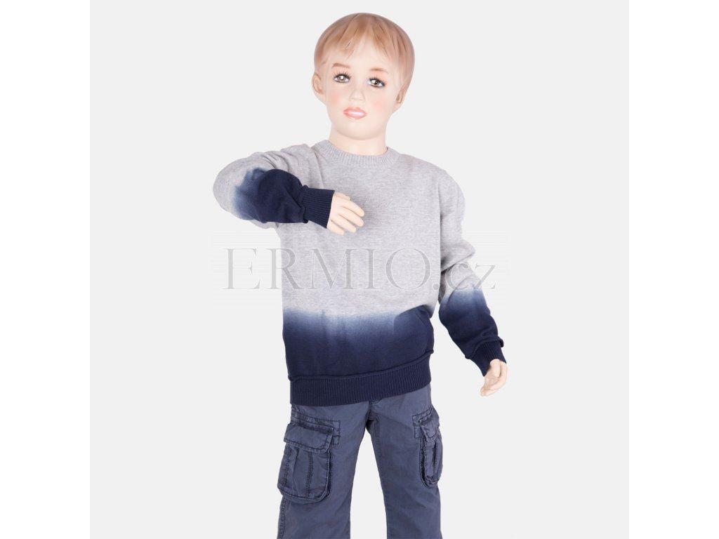 Krásný šedo-modrý svetr Armani Junior