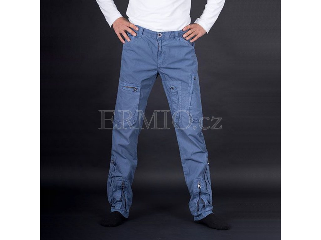 Módní pánské kalhoty modré