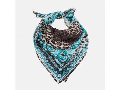 Hedvábný tyrkysový šátek Versace