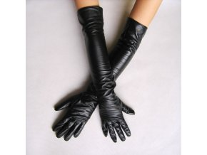 Women s faux leather long gloves ultra long belt long design fashion women s leather gloves