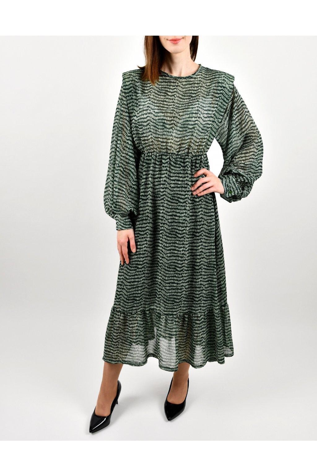 Šaty s vypchávkami - VERDE PRINT LONG