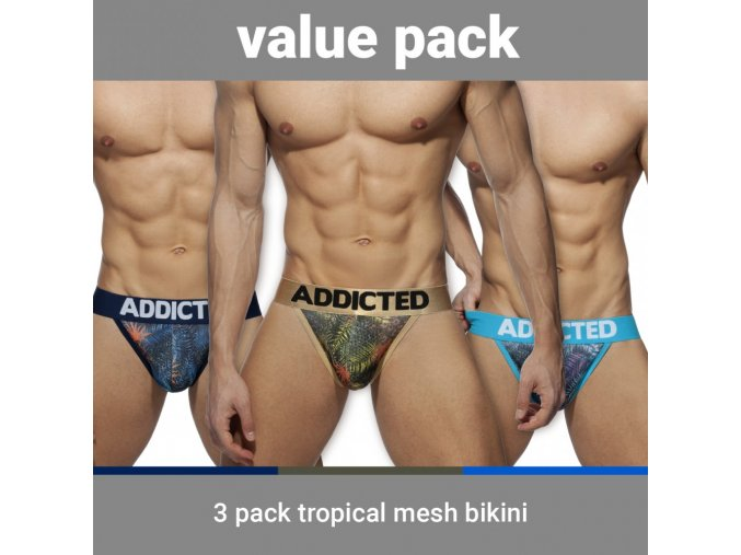 ad891p 3 pack tropical mesh bikini push up