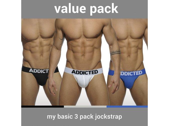Pánské jockstrapy AD MY BASIC 3 PACK JOCKSTRAP