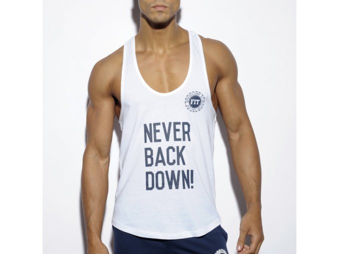 Pánský nátělník ES Collection NEVER BACK DOWN TANK TOP - bílý