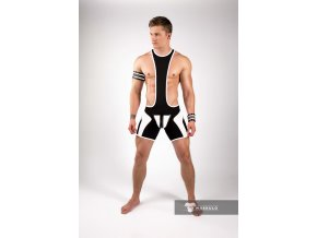 Pánský singlet Maskulo Men's Wrestling Singlet. Codpiece. Zippered rear - bílý