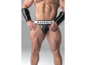 Pánské jockstrapy Maskulo Armored. Men's Fetish Jockstrap. Detachable Codpiece - černé